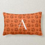 Monogram orange dog paw prints pillows