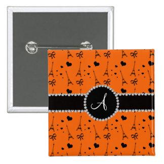 Monogram orange eiffel tower pattern 2 inch square button