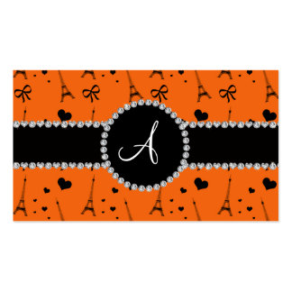 Monogram orange eiffel tower pattern business cards