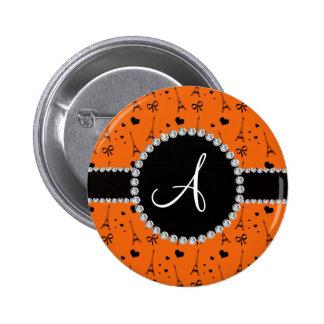 Monogram orange eiffel tower pattern 2 inch round button