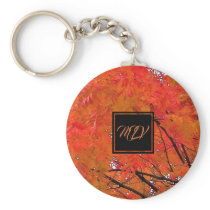 Monogram Orange Fall Leaves Button Keychain