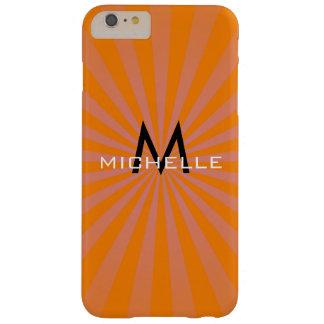 Monogram Orange Funky Sun Rays Retro Stripes Barely There iPhone 6 Plus Case