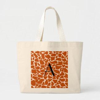 Monogram orange giraffe print tote bag