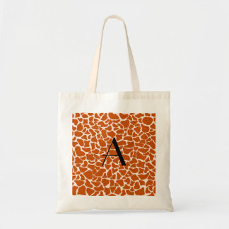 Monogram orange giraffe print tote bags