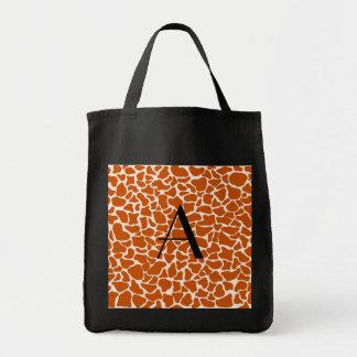 Monogram orange giraffe print bag