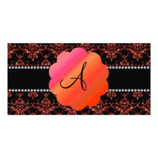 Monogram orange glitter damask photo card