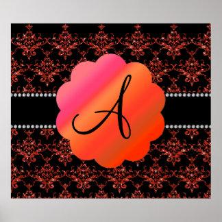 Monogram orange glitter damask poster