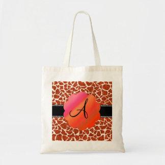 Monogram orange glitter giraffe print canvas bags