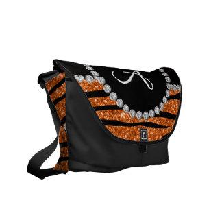 Monogram orange glitter zebra stripes circle messenger bag