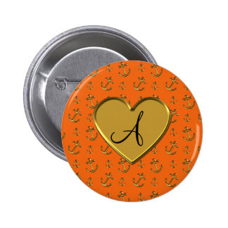 Monogram orange gold anchors heart button