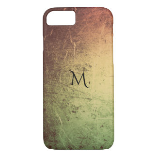 Monogram Orange Gold Green Leather Look Sheen iPhone 8/7 Case
