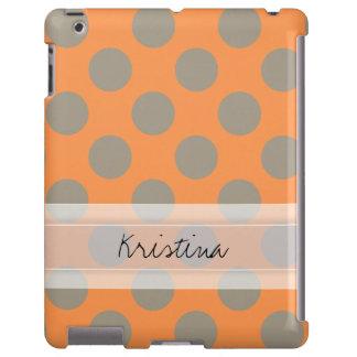Monogram Orange Gray Chic Cute Polka Dot Pattern