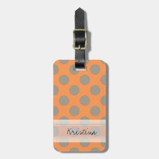 Monogram Orange Gray Chic Cute Polka Dot Pattern Bag Tag