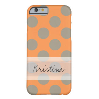 Monogram Orange Gray Chic Cute Polka Dot Pattern Barely There iPhone 6 Case