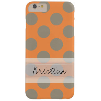 Monogram Orange Gray Chic Cute Polka Dot Pattern Barely There iPhone 6 Plus Case