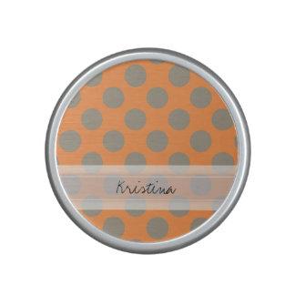 Monogram Orange Gray Chic Cute Polka Dot Pattern Bluetooth Speaker