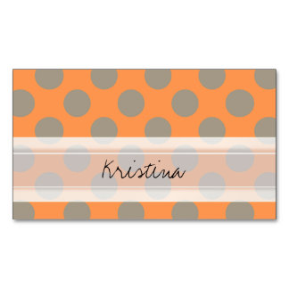 Monogram Orange Gray Chic Cute Polka Dot Pattern Business Card Magnet
