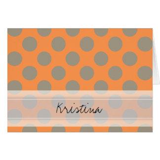 Monogram Orange Gray Chic Cute Polka Dot Pattern Card