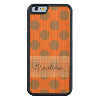 Monogram Orange Gray Chic Cute Polka Dot Pattern Carved® Cherry iPhone 6 Bumper Case