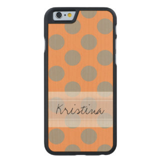 Monogram Orange Gray Chic Cute Polka Dot Pattern Carved® Maple iPhone 6 Case