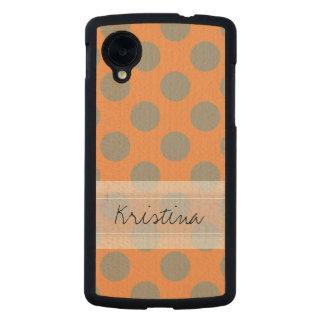 Monogram Orange Gray Chic Cute Polka Dot Pattern Carved® Maple Nexus 5 Case