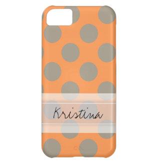 Monogram Orange Gray Chic Cute Polka Dot Pattern Case For iPhone 5C