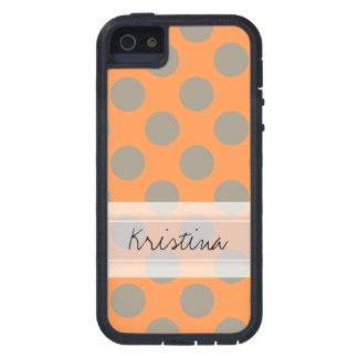Monogram Orange Gray Chic Cute Polka Dot Pattern Case For iPhone SE/5/5s