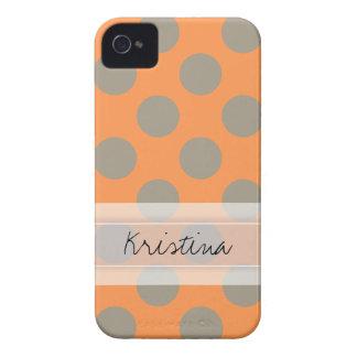 Monogram Orange Gray Chic Cute Polka Dot Pattern Case-Mate iPhone 4 Cases