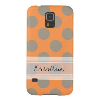 Monogram Orange Gray Chic Cute Polka Dot Pattern Cases For Galaxy S5
