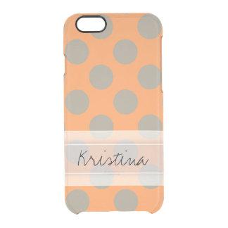 Monogram Orange Gray Chic Cute Polka Dot Pattern Clear iPhone 6/6S Case