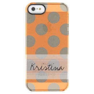 Monogram Orange Gray Chic Cute Polka Dot Pattern Clear iPhone SE/5/5s Case