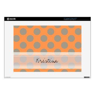"Monogram Orange Gray Chic Cute Polka Dot Pattern Decal For 15"" Laptop"