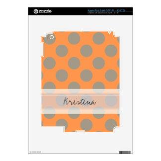 Monogram Orange Gray Chic Cute Polka Dot Pattern Decals For iPad 3