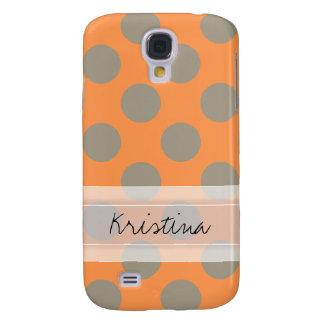 Monogram Orange Gray Chic Cute Polka Dot Pattern Galaxy S4 Cover