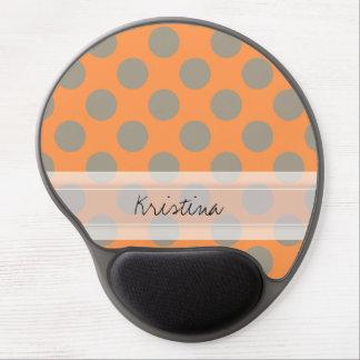 Monogram Orange Gray Chic Cute Polka Dot Pattern Gel Mouse Pad