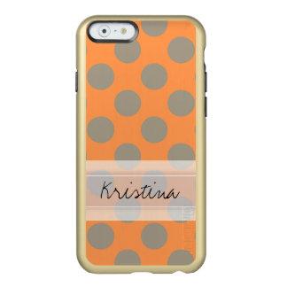 Monogram Orange Gray Chic Cute Polka Dot Pattern Incipio Feather® Shine iPhone 6 Case