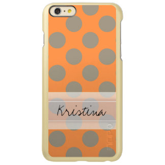 Monogram Orange Gray Chic Cute Polka Dot Pattern Incipio Feather® Shine iPhone 6 Plus Case