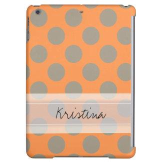 Monogram Orange Gray Chic Cute Polka Dot Pattern iPad Air Cases