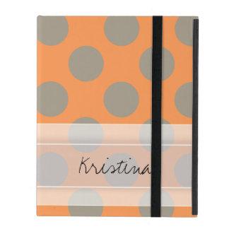 Monogram Orange Gray Chic Cute Polka Dot Pattern iPad Cases