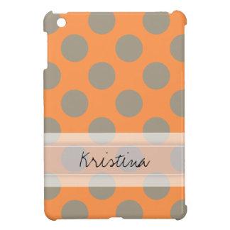 Monogram Orange Gray Chic Cute Polka Dot Pattern iPad Mini Cover