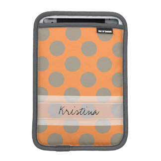 Monogram Orange Gray Chic Cute Polka Dot Pattern iPad Mini Sleeve