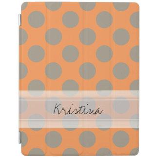 Monogram Orange Gray Chic Cute Polka Dot Pattern iPad Smart Cover