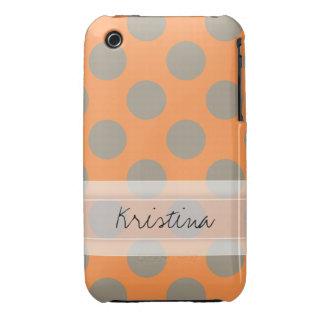 Monogram Orange Gray Chic Cute Polka Dot Pattern iPhone 3 Case-Mate Cases