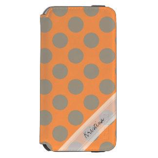 Monogram Orange Gray Chic Cute Polka Dot Pattern iPhone 6/6s Wallet Case
