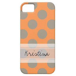 Monogram Orange Gray Chic Cute Polka Dot Pattern iPhone SE/5/5s Case