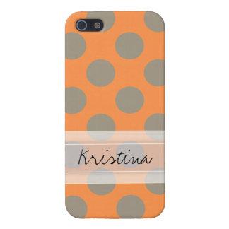 Monogram Orange Gray Chic Cute Polka Dot Pattern iPhone SE/5/5s Cover
