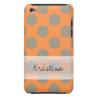 Monogram Orange Gray Chic Cute Polka Dot Pattern iPod Case-Mate Cases
