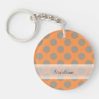 Monogram Orange Gray Chic Cute Polka Dot Pattern Keychain