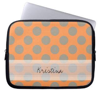 Monogram Orange Gray Chic Cute Polka Dot Pattern Laptop Computer Sleeve