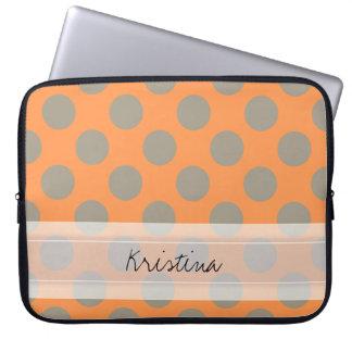 Monogram Orange Gray Chic Cute Polka Dot Pattern Laptop Computer Sleeves